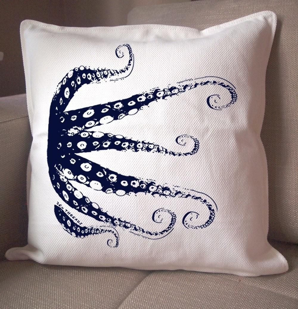 Love Minimalist Design Navy Octopus Pillow