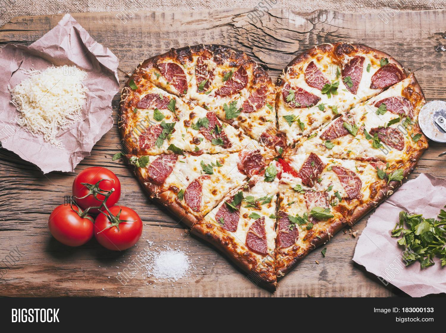 Love Pizza Baked Heart Shaped Homemade Cutting