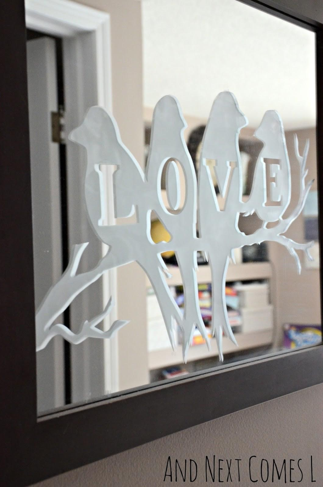 Lovebirds Etched Mirror Next Comes