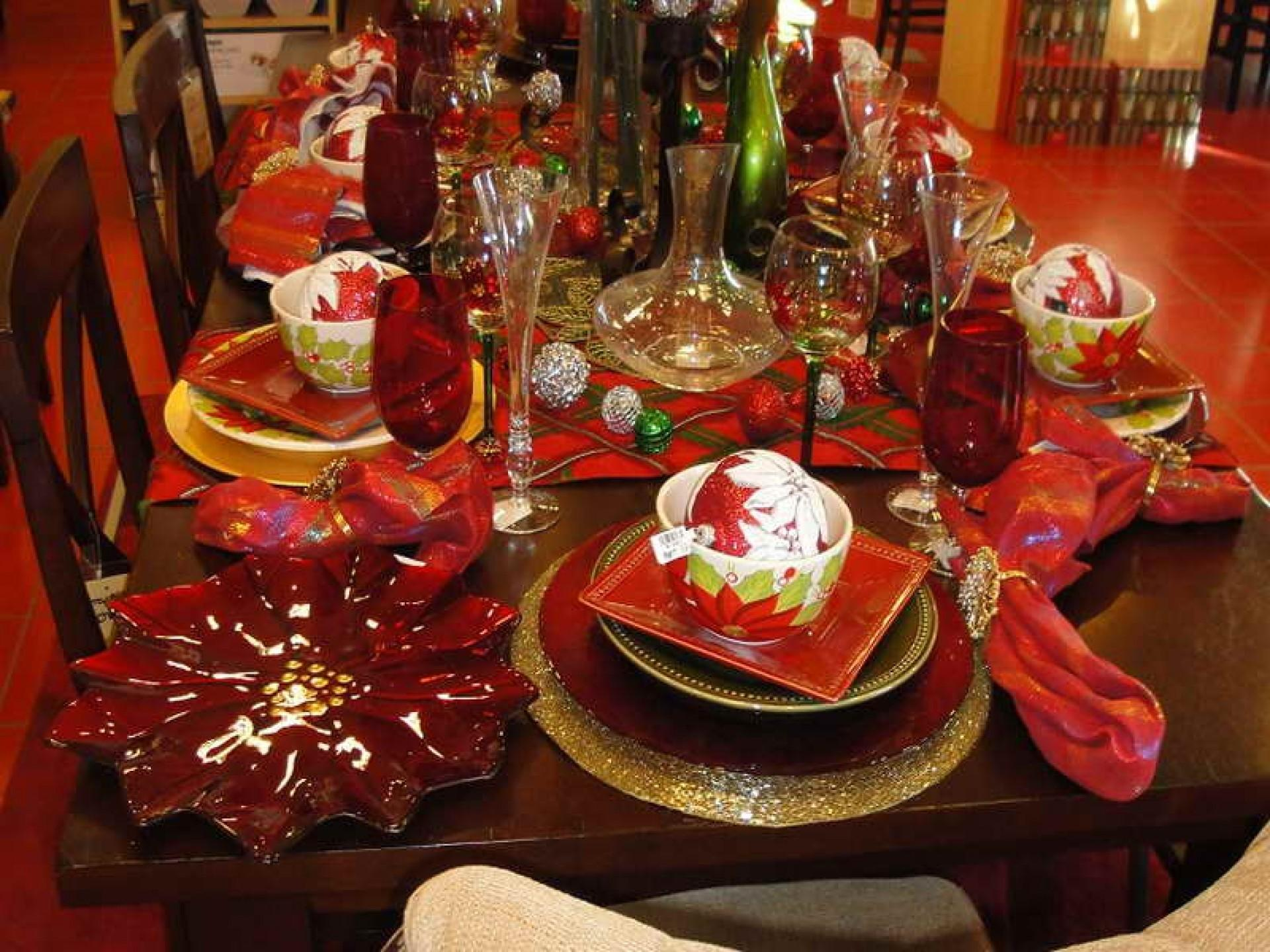 Lovely Christmas Dinner Table Decorations Ideas Red