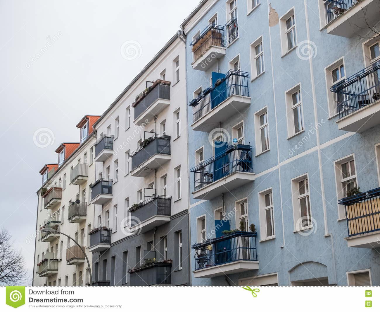 Low Rise Apartment Buildings Small Balconies Stock