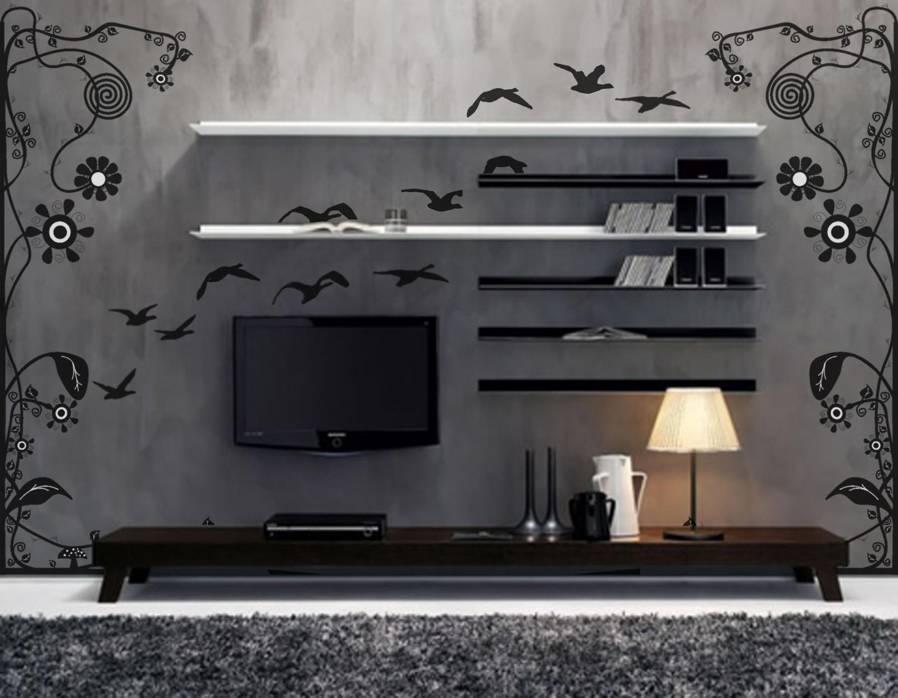 Low Varnished Wooden Stand Black White Floating