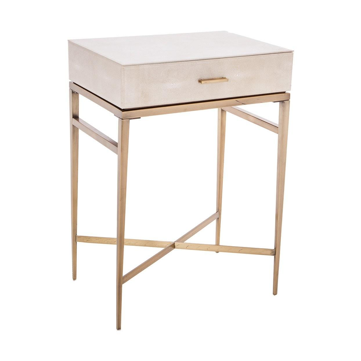 Lucile Taupe Shagreen Gold Side Table Shropshire Design