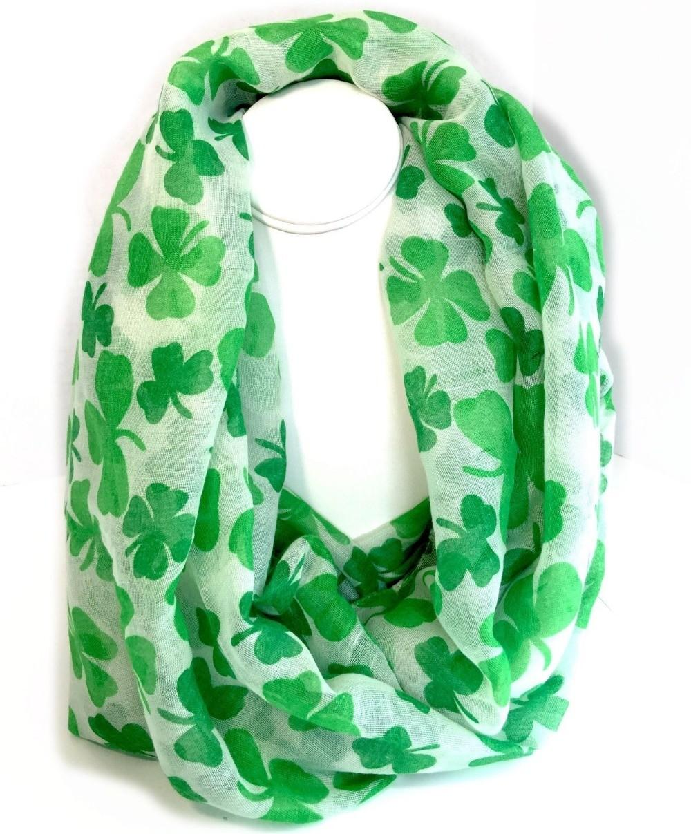Lucky Four Leaf Clover Infinity Scarf Light Weight