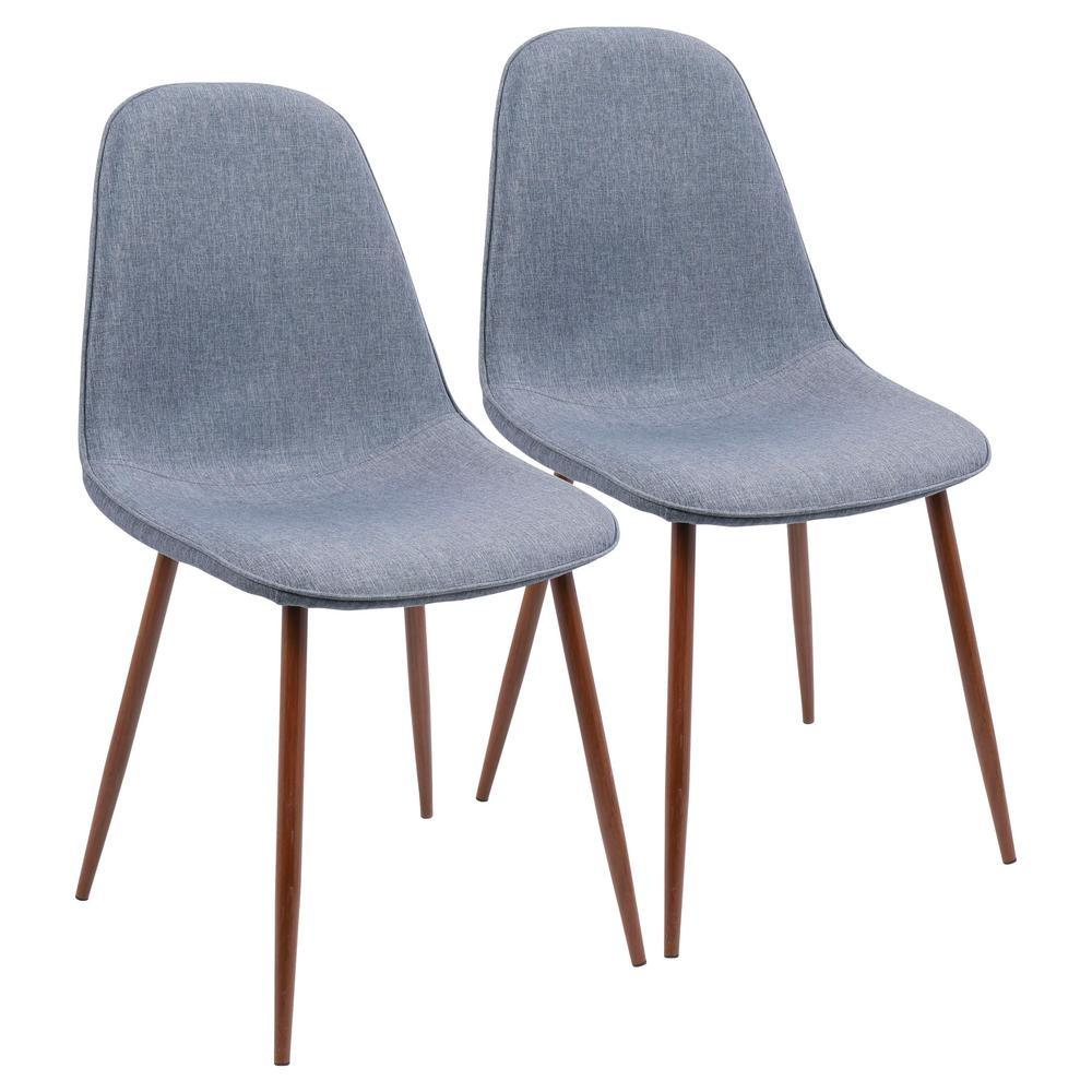 Lumisource Pebble Walnut Blue Dining Accent Chair Set