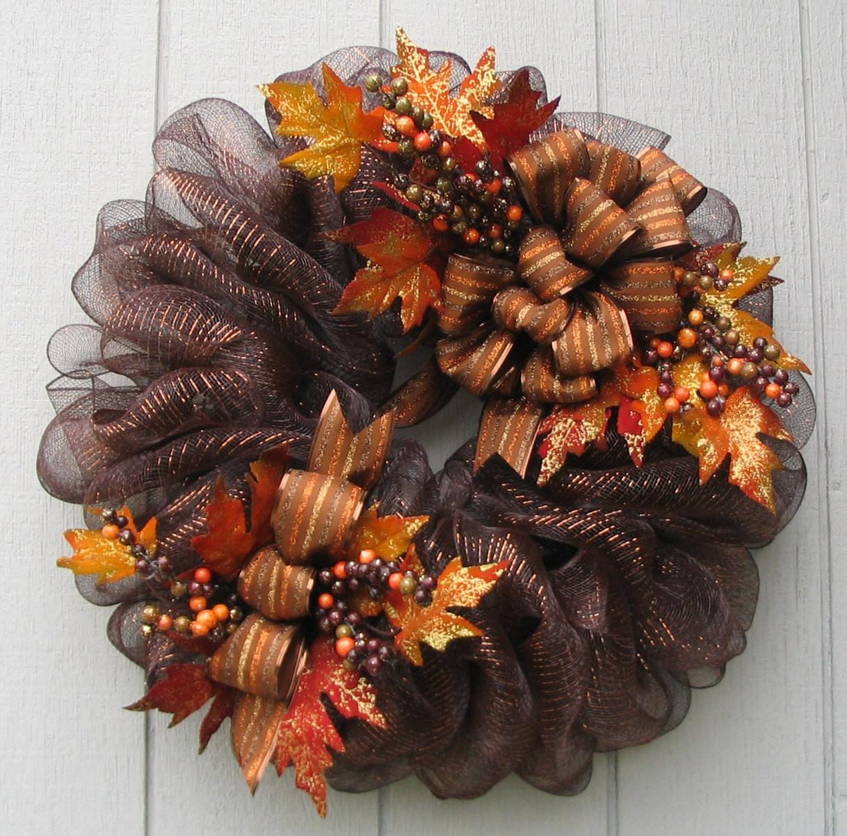 Luxurious Brown Metallic Deco Mesh Fall Wreathswithclasses