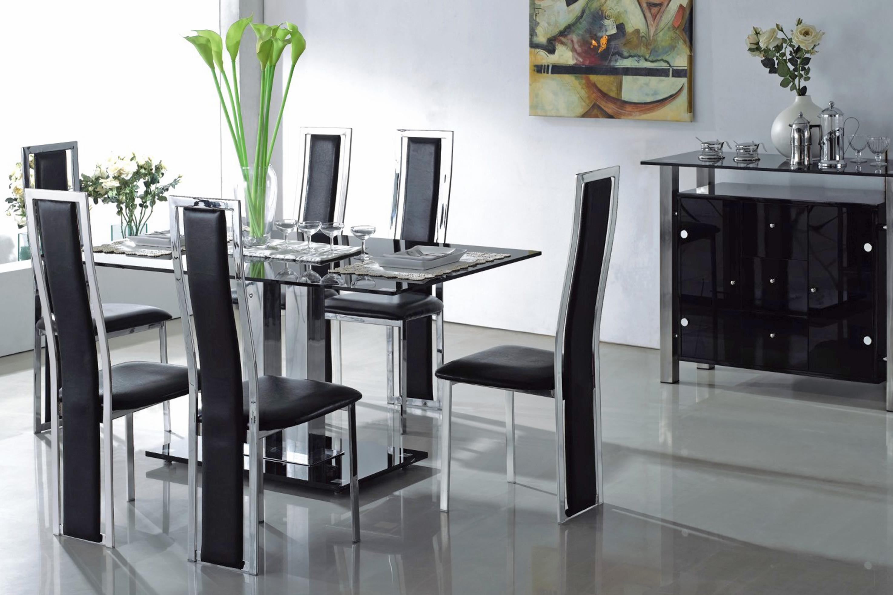 Luxury Black Glass Dining Room Table Chairs Light