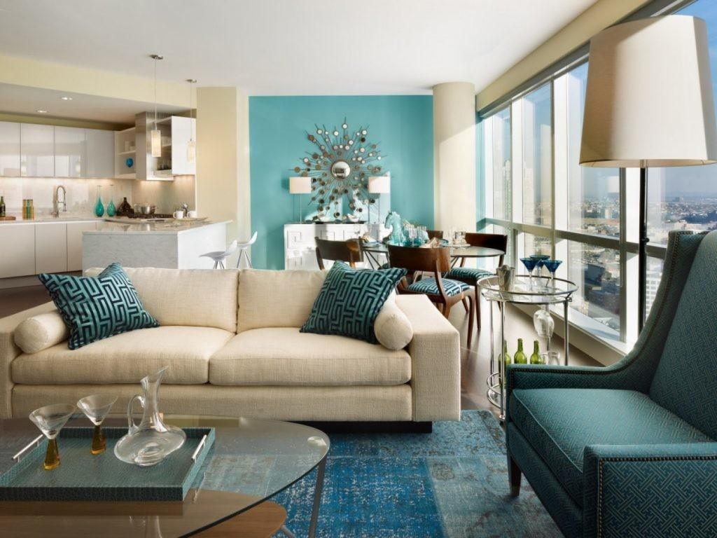 Luxury Brown Beige Blue Living Room Remodel