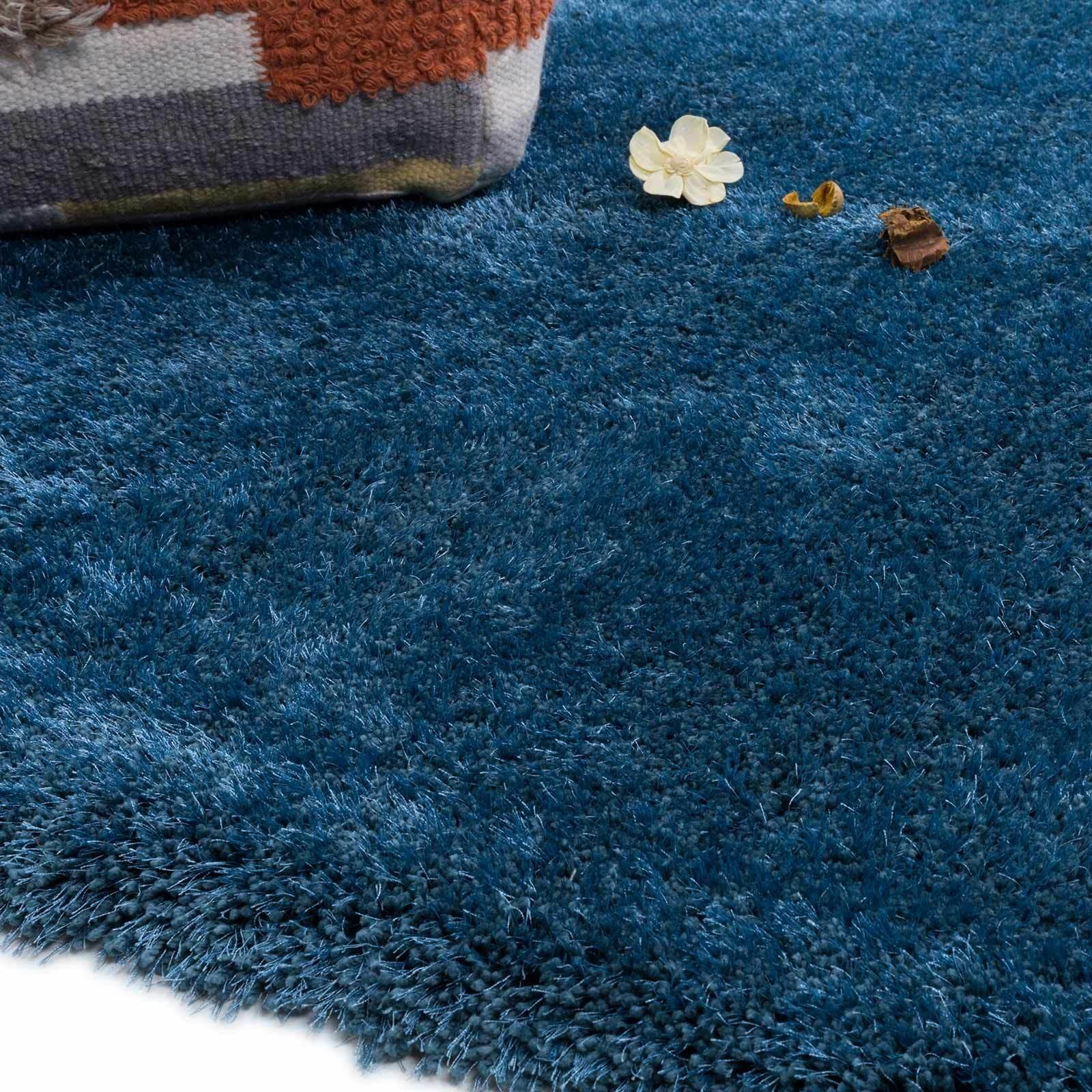 Luxury Collection Thick Thin Blue Shaggy Floor Rug Lux02