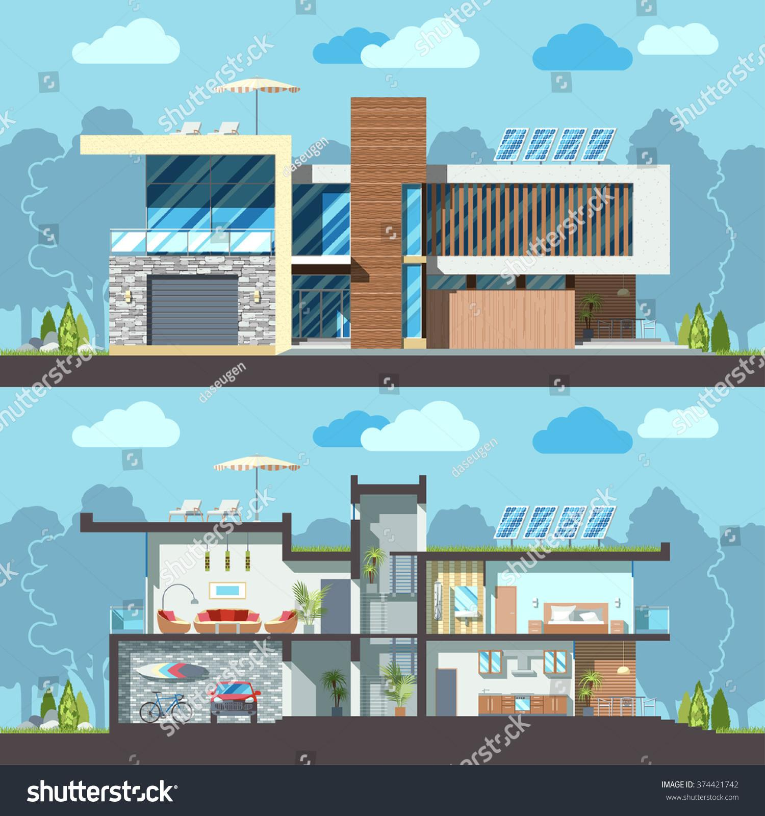 Luxury Modern Residential Twostoried House Facade Stock