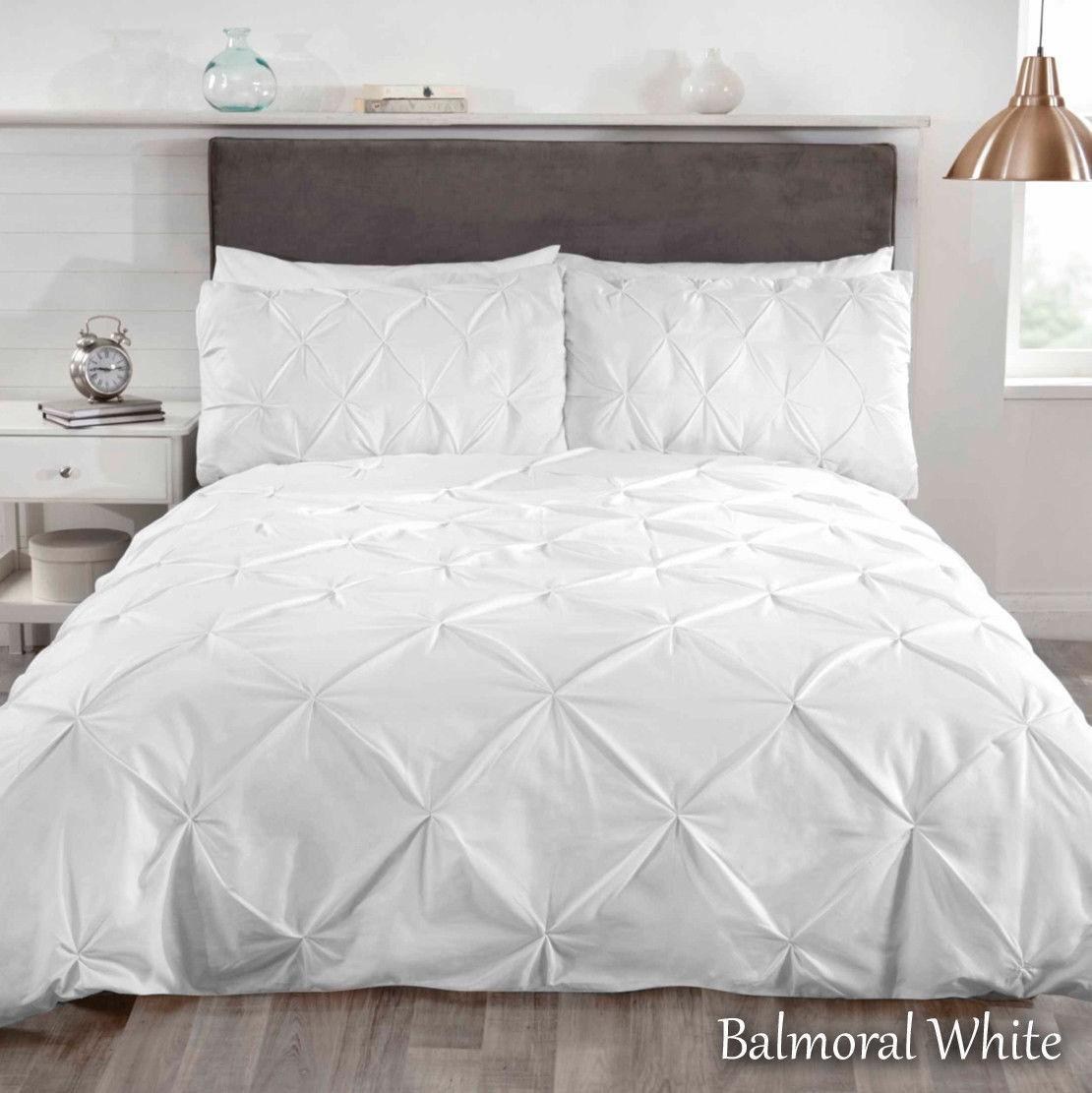 Luxury Pleated Pintuck Duvet Quilt Cover Bedding Set