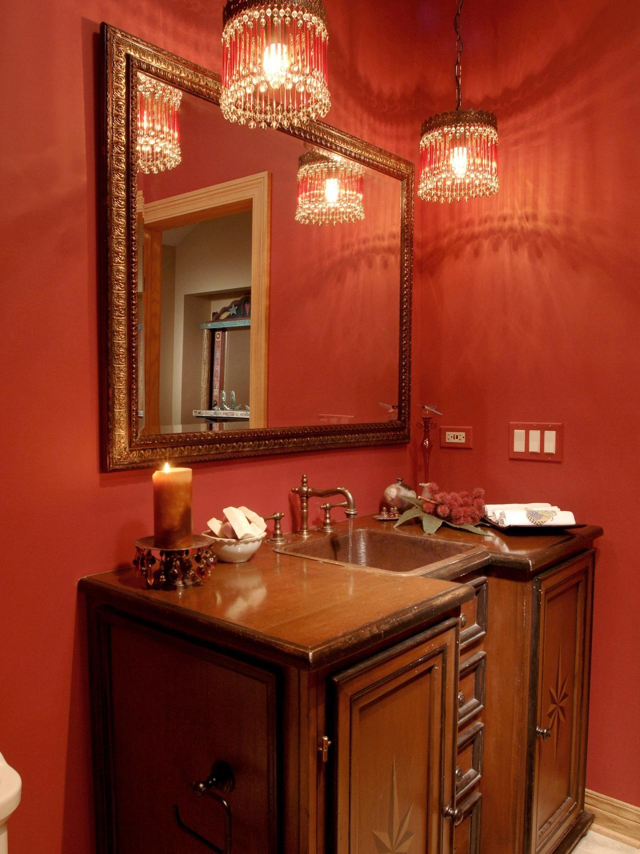 Luxury Red Themes Victorian Bathroom Ideas Square