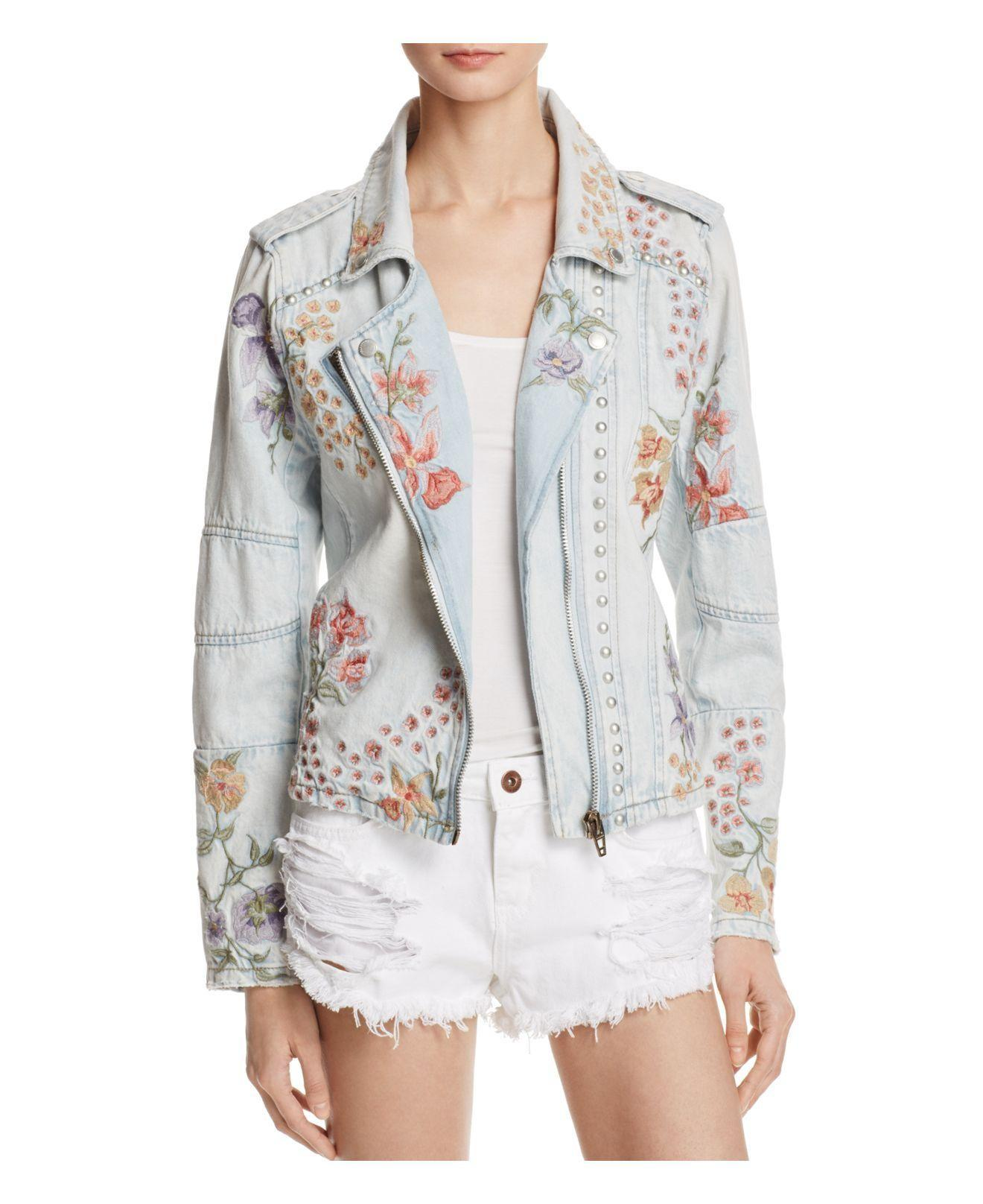 Lyst Blank Nyc Floral Embroidered Denim Moto Jacket Blue