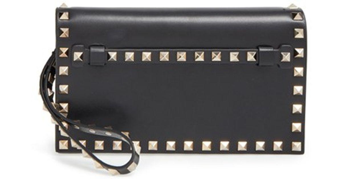 Lyst Valentino Small Rockstud Leather Flap Clutch Black