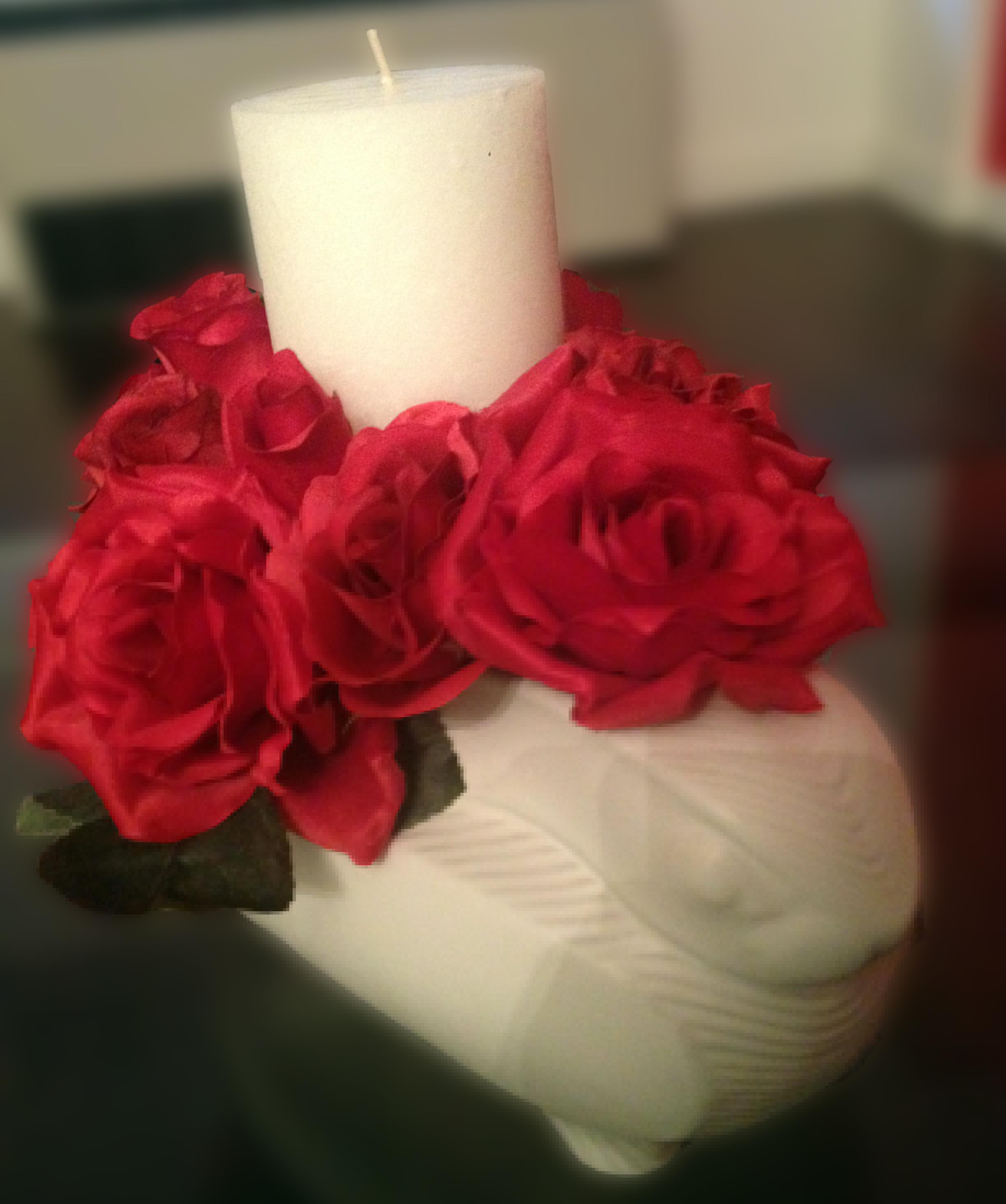 Made Diy Candle Flowers Centerpiece