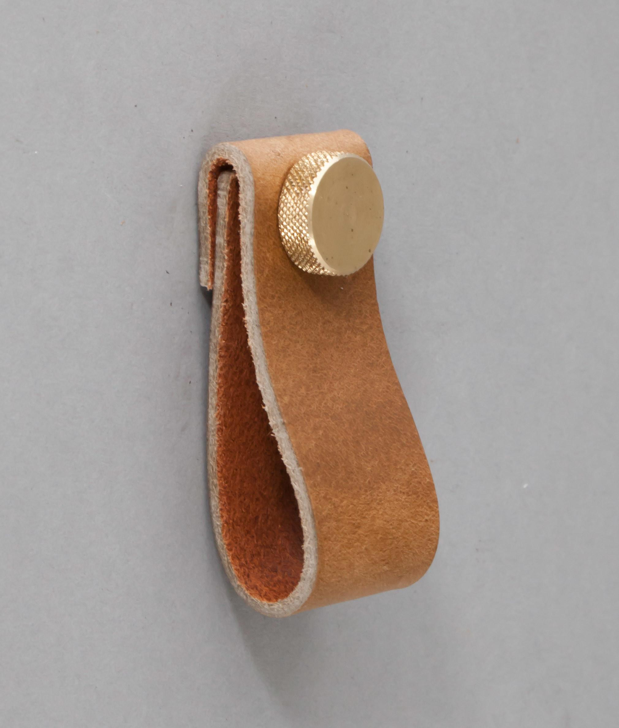 Magni Raw Umber Leather Kitchen Door Handles Drawer Pull