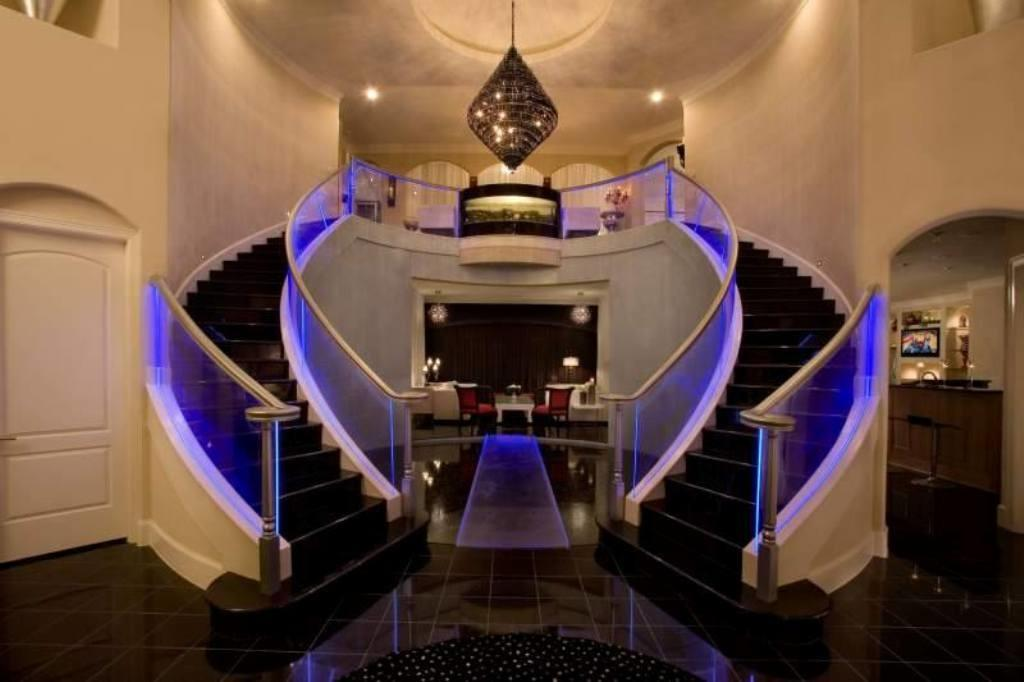 Magnificent Stairs Design Purple Led Lighting