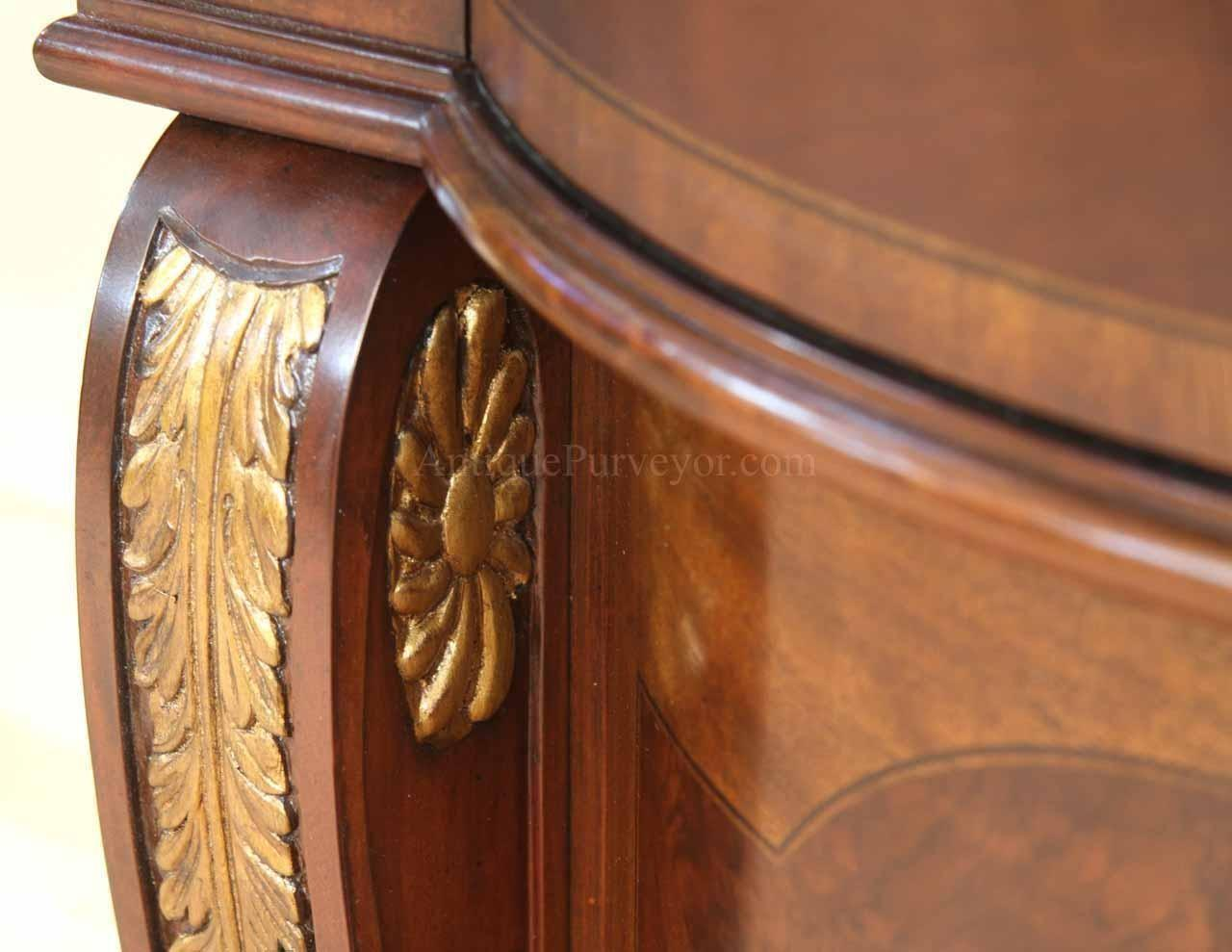 Mahogany Sideboard Gold Leaf Accents Dining Room
