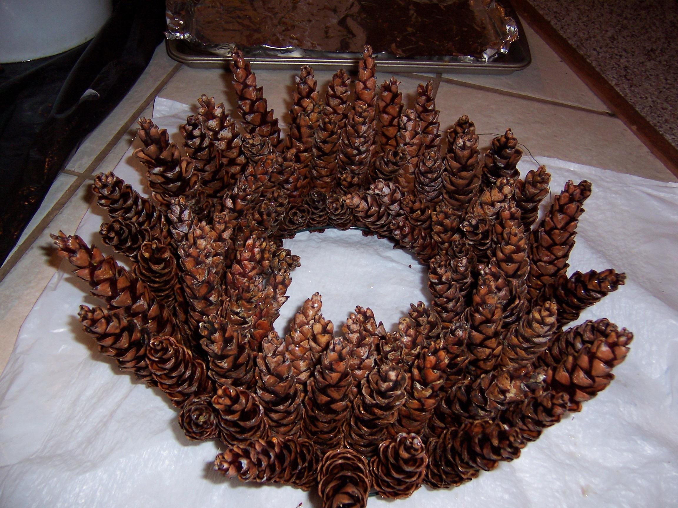 Make Beautiful Pine Cone Wreath Without Gluing