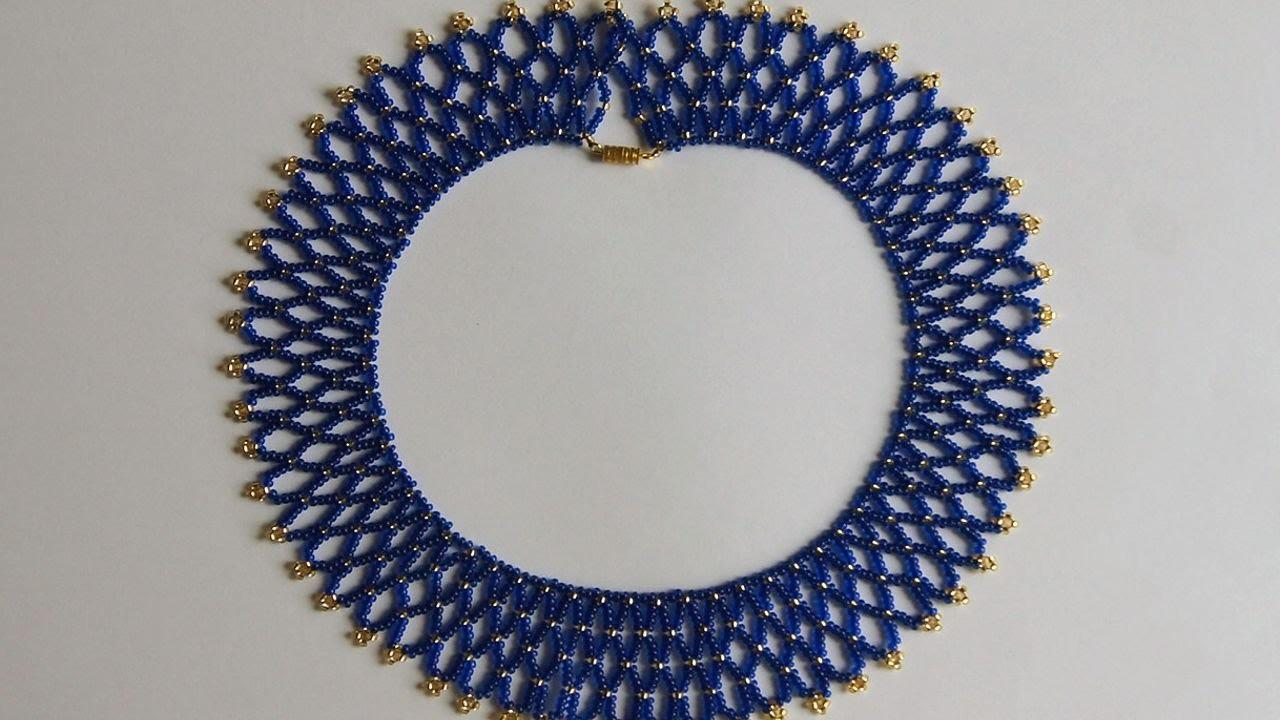 Make Blue Gold Bead Necklace Diy Style Tutorial