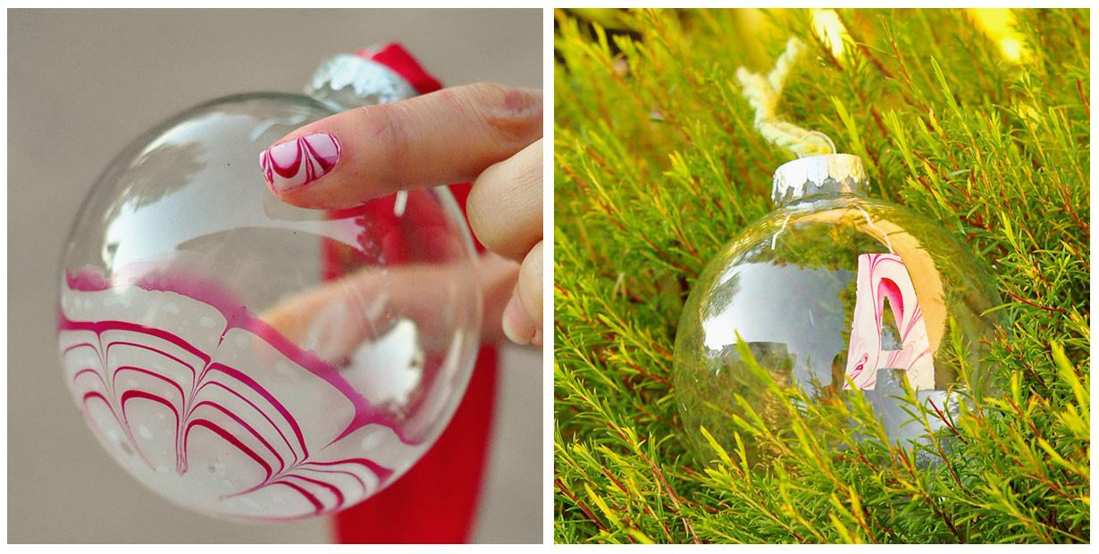 Make Candy Cane Marbled Christmas Ornaments Dollar Store