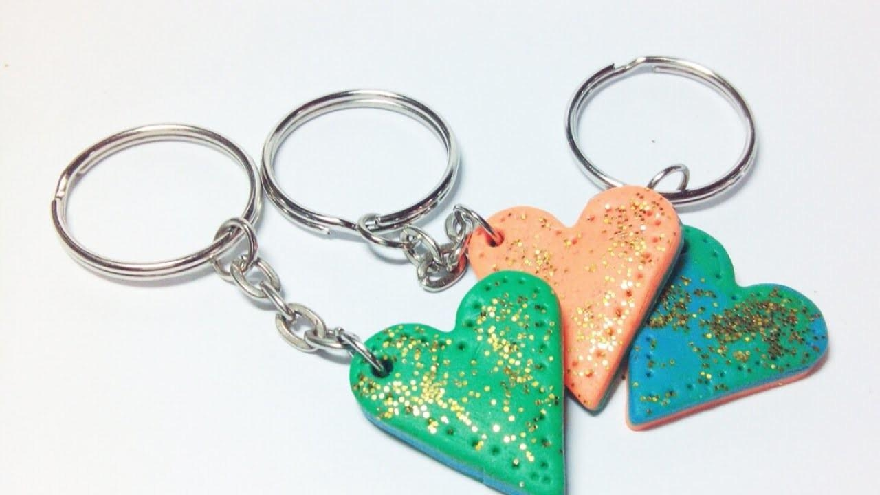 Make Colorful Heart Clay Keychains Diy Crafts