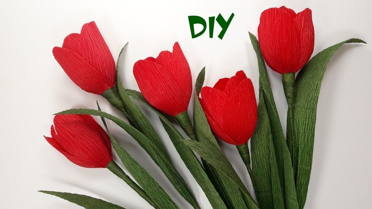 Make Crepe Paper Flowers Diy Tulips Craft