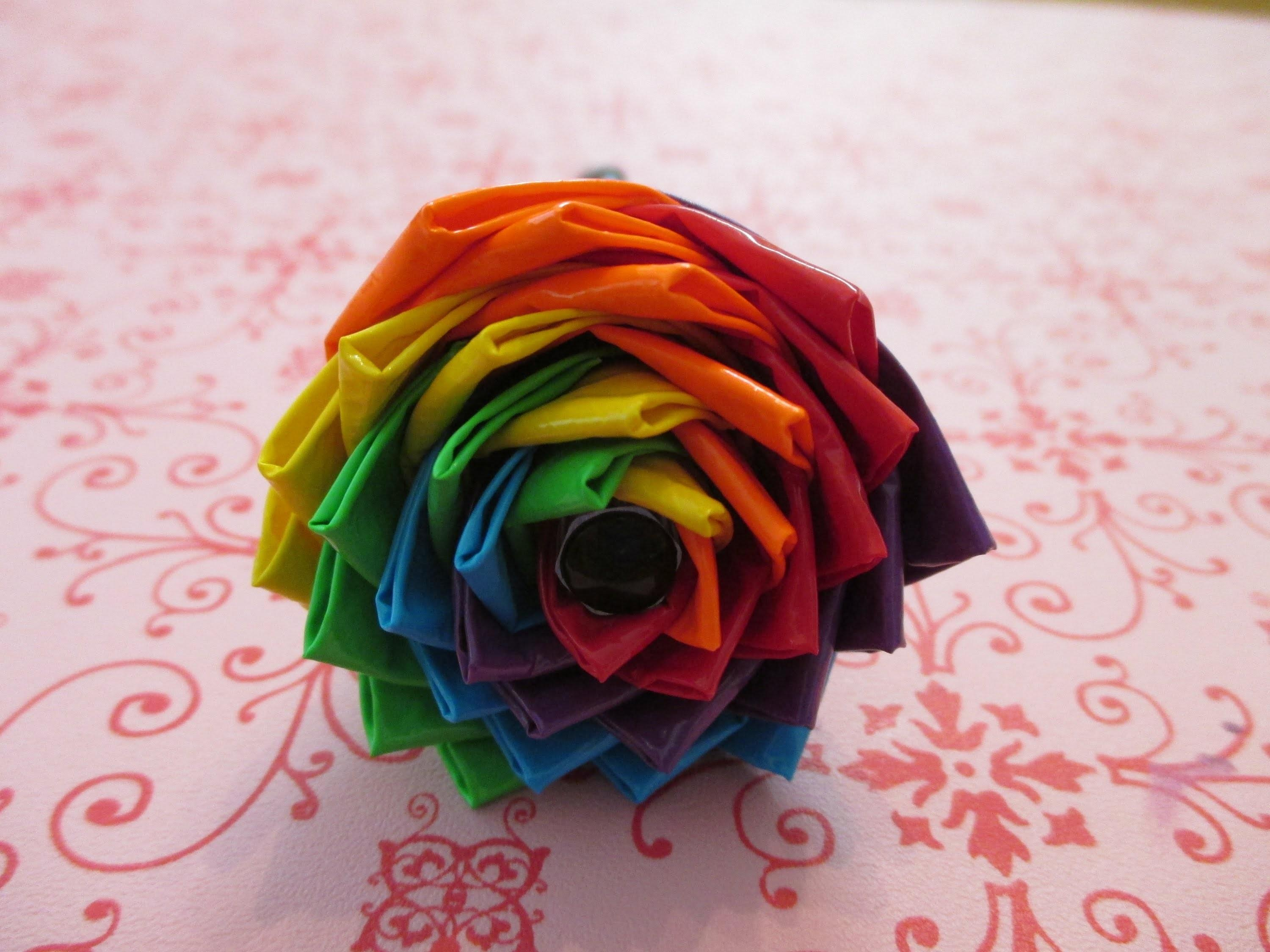 Make Duct Tape Rainbow Spiral Flower Pen