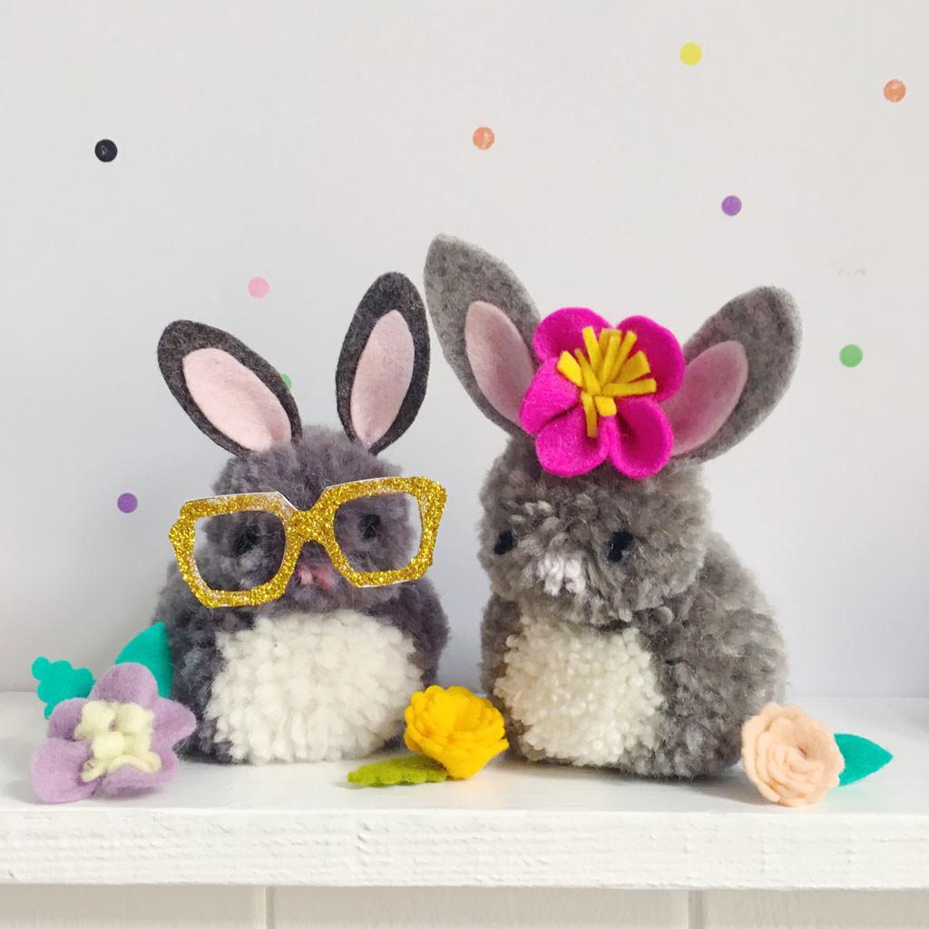 Make Easter Pompom Bunnies Sewyeah
