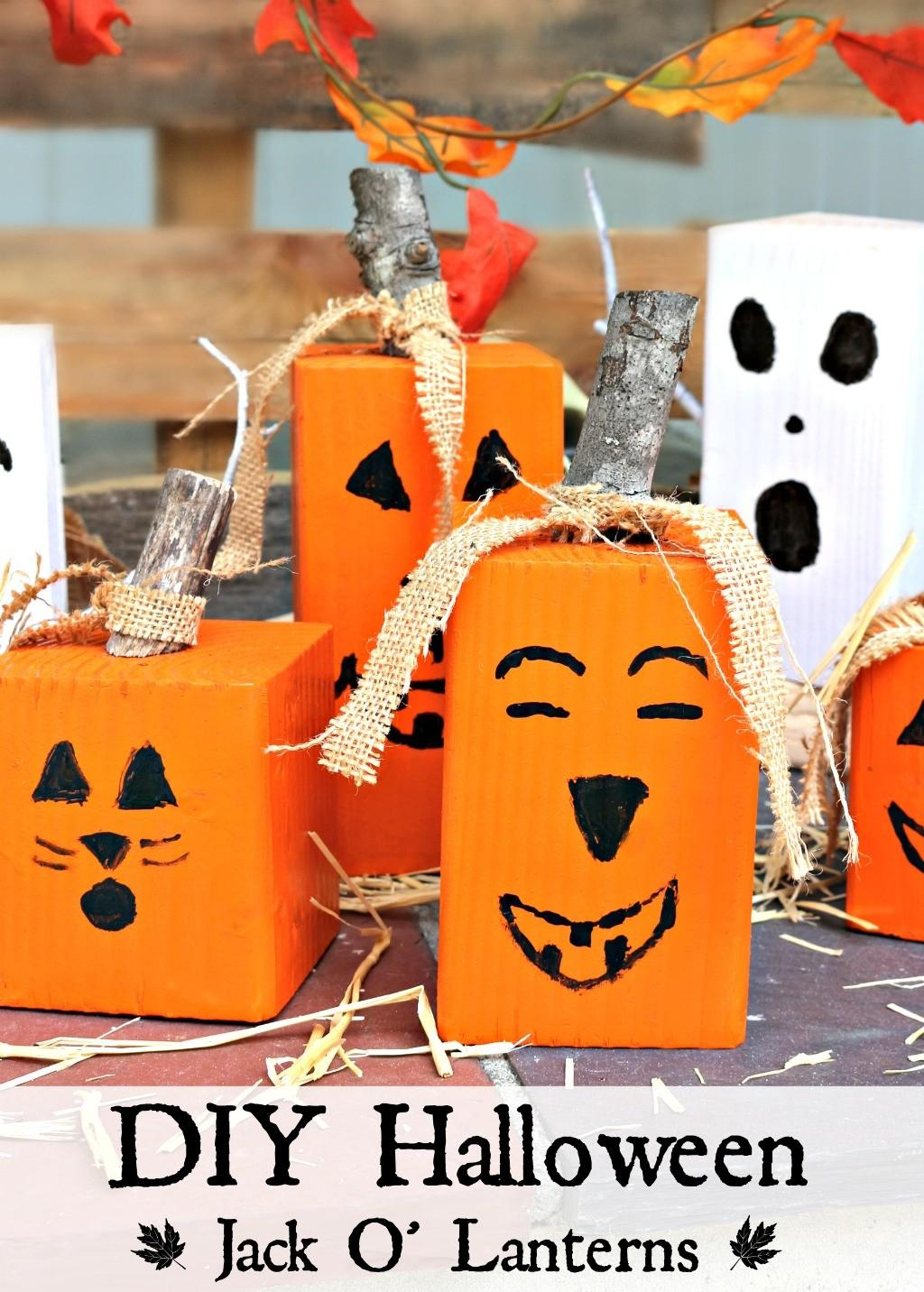 Make Easy Wood Pumpkin Jack Lantern