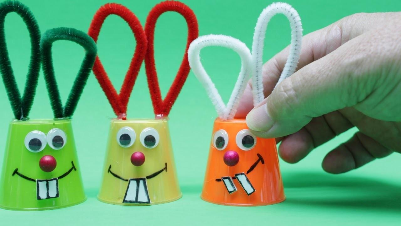Make Funny Bunny Plastic Cup Easter Diy