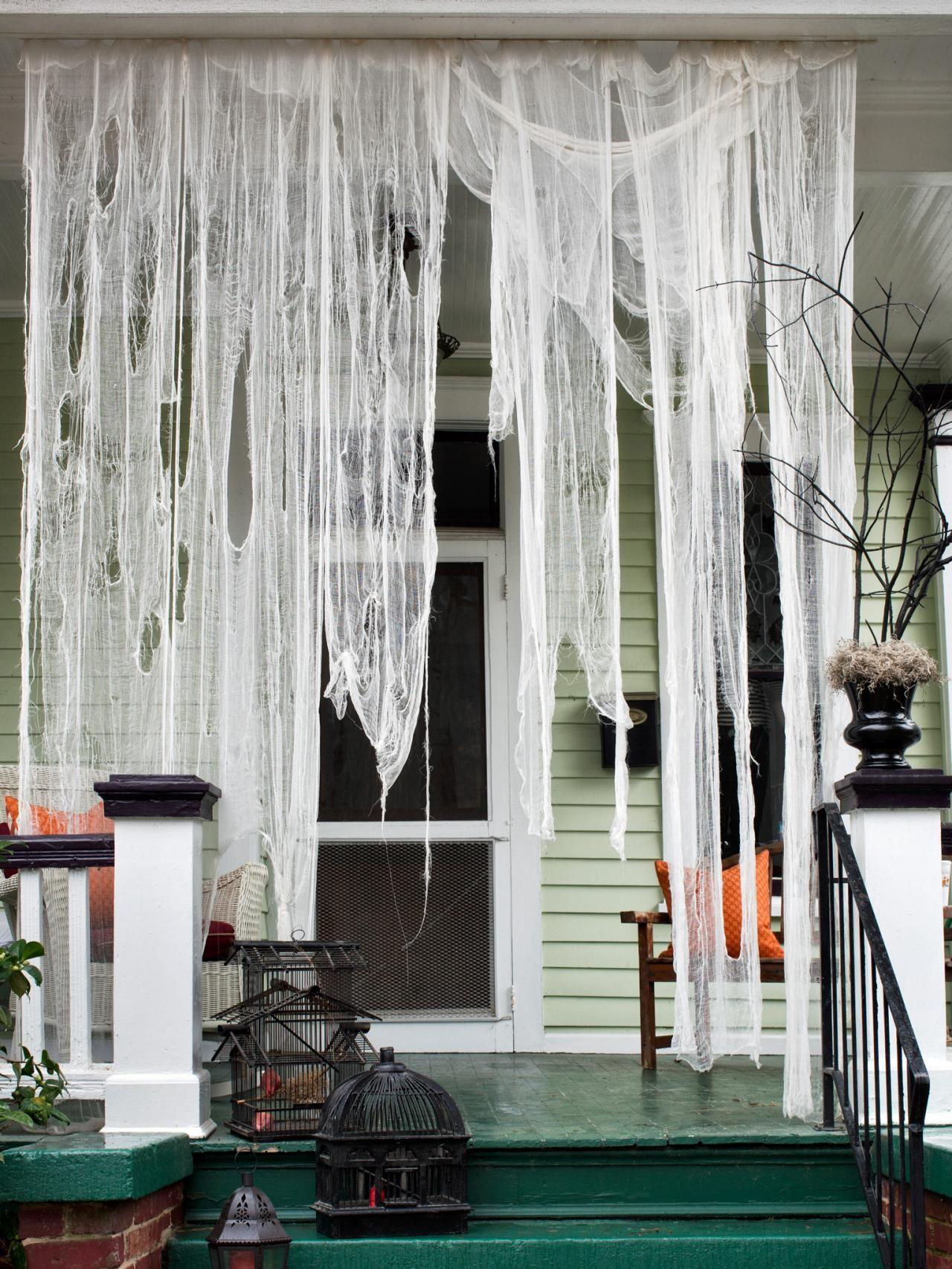 Make Ghostly Outdoor Draperies Halloween