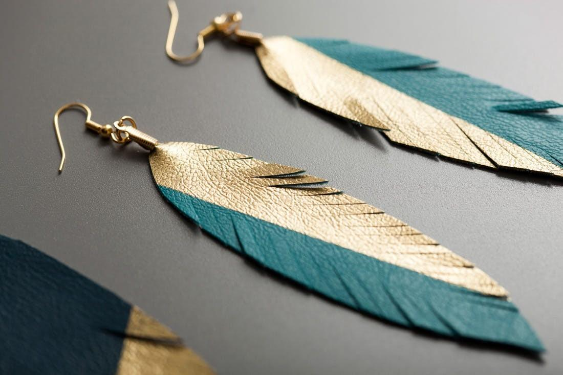 Make Gold Dipped Leather Feather Earrings Brit