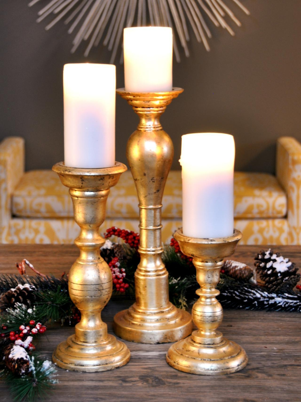 Make Gold Leafed Holiday Candlesticks