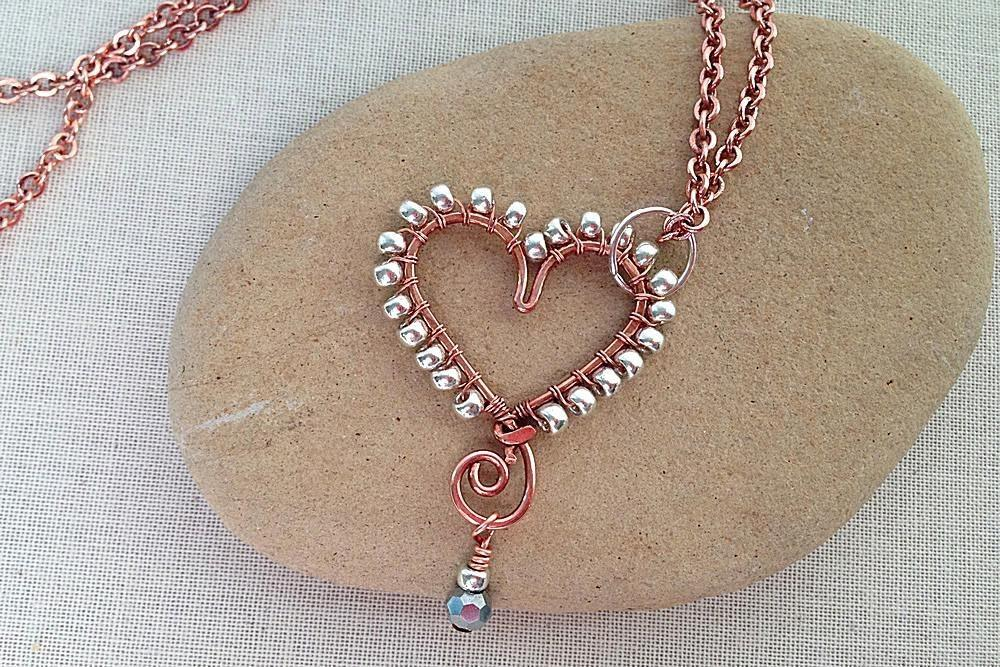 Make Heart Jewelry Using Wire Beads