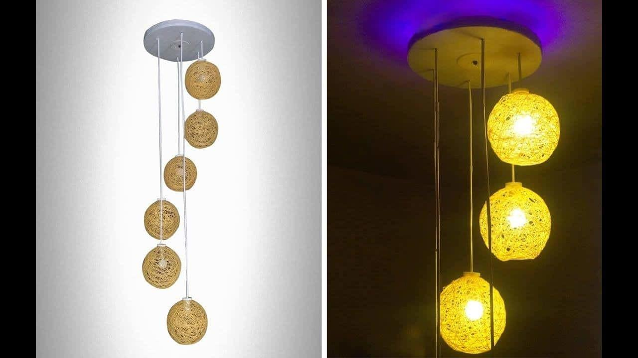 Make Homemade Wrapped Balloon Lamp Simple Craft