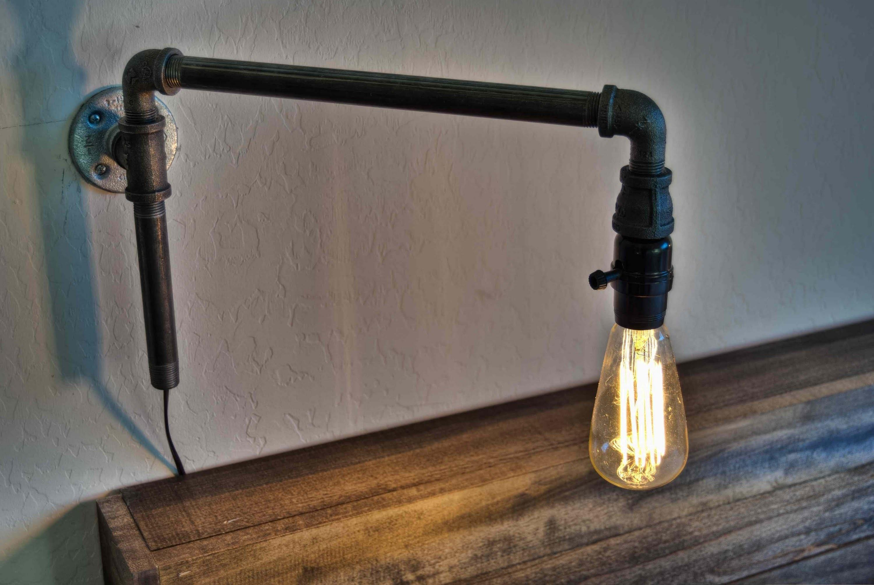 Make Modern Swinging Wall Light Iron Pipe