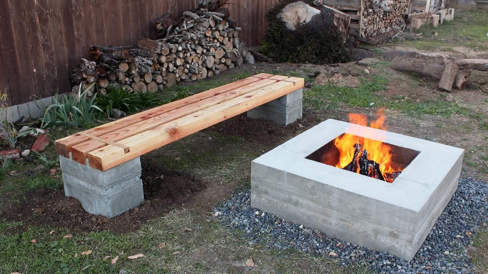 Make Outdoor Concrete Wood Bench Fire