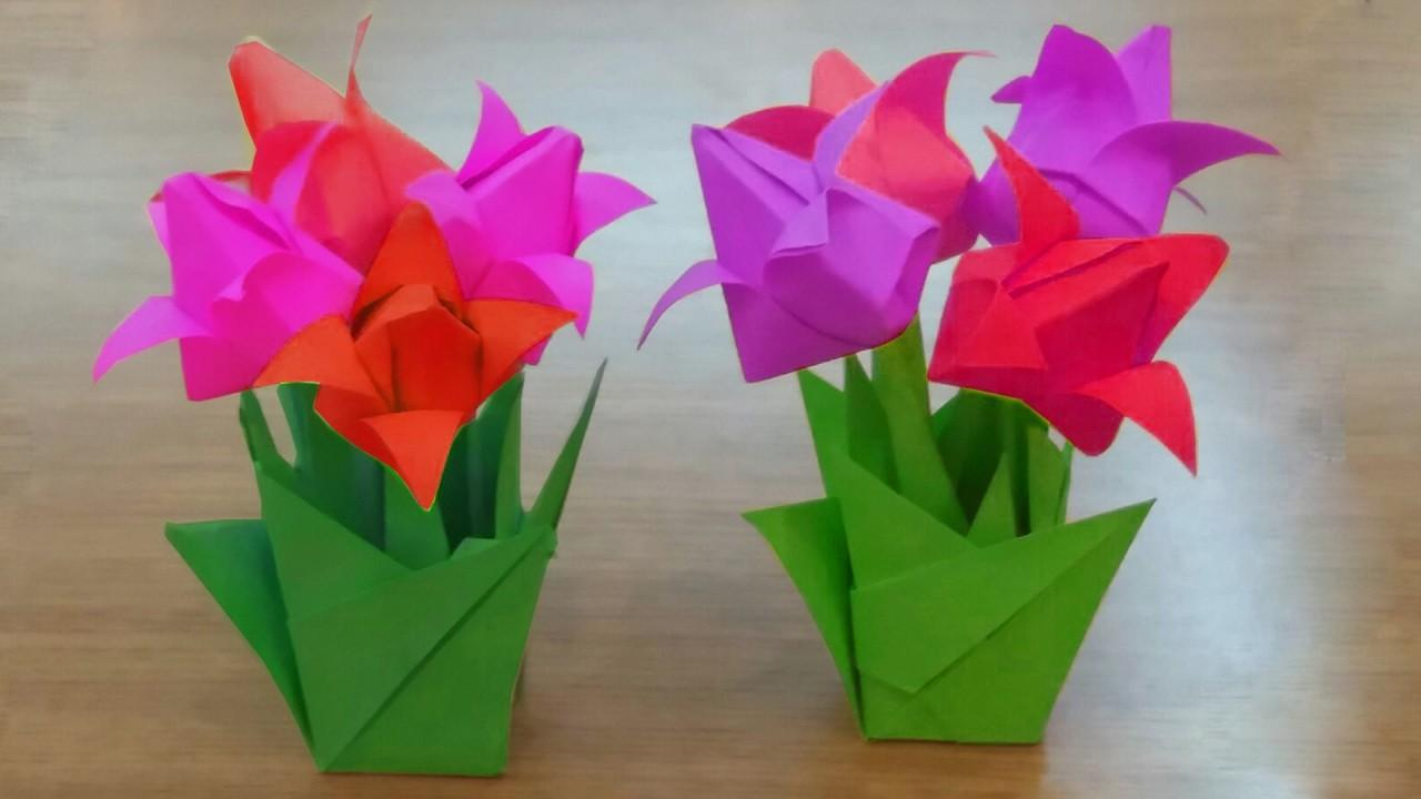 Make Paper Tulip Flowers Bouquet Diy Tulips