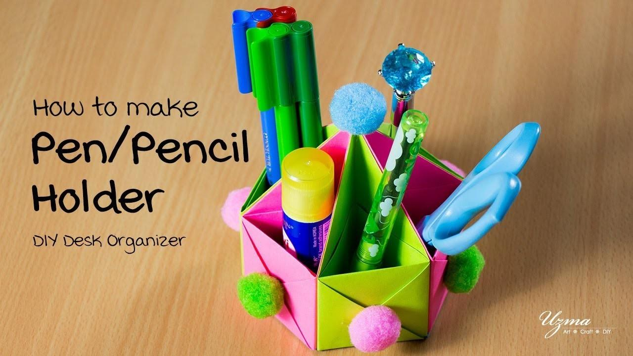 Make Pen Pencil Holder Origami Box Diy Desk