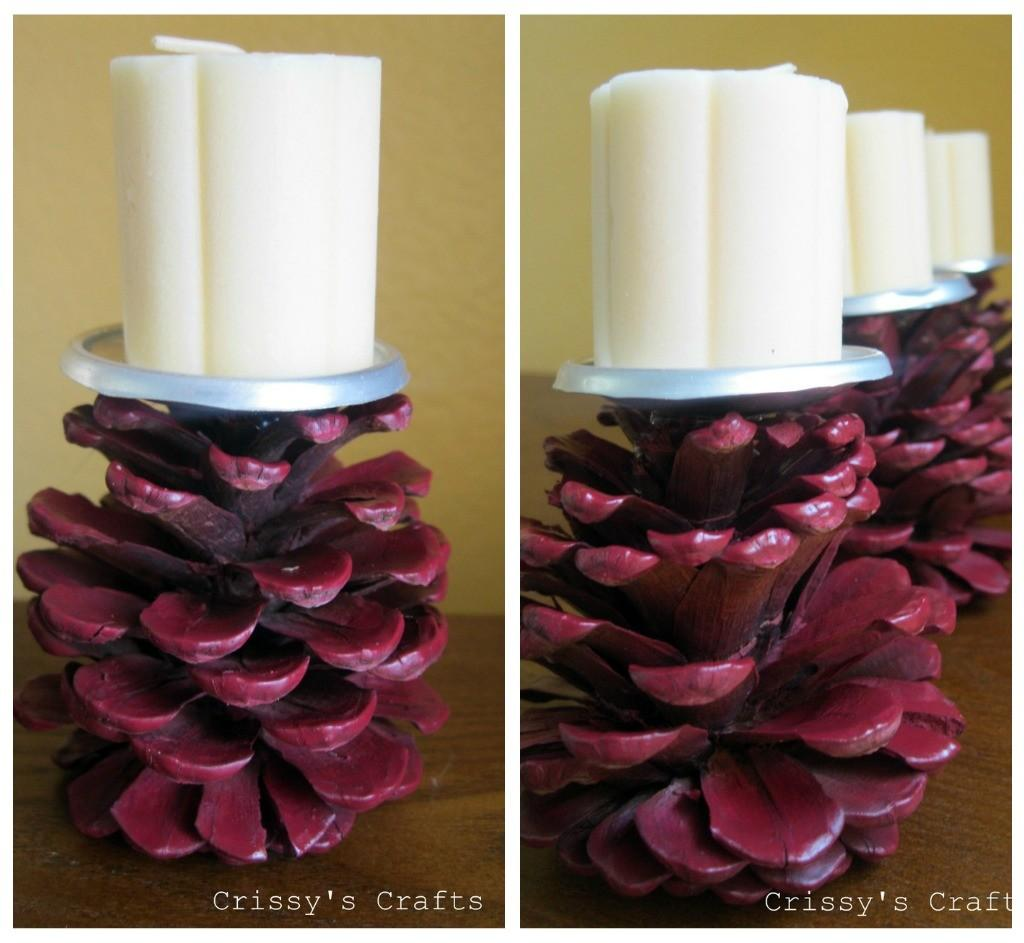 Make Pine Cone Candle Holders Dollar Store Crafts