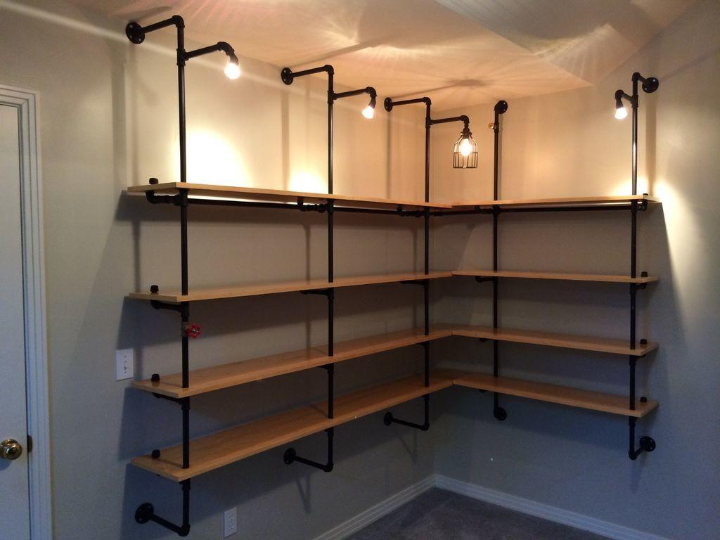 Make Pipe Supported Shelves Built Lighting