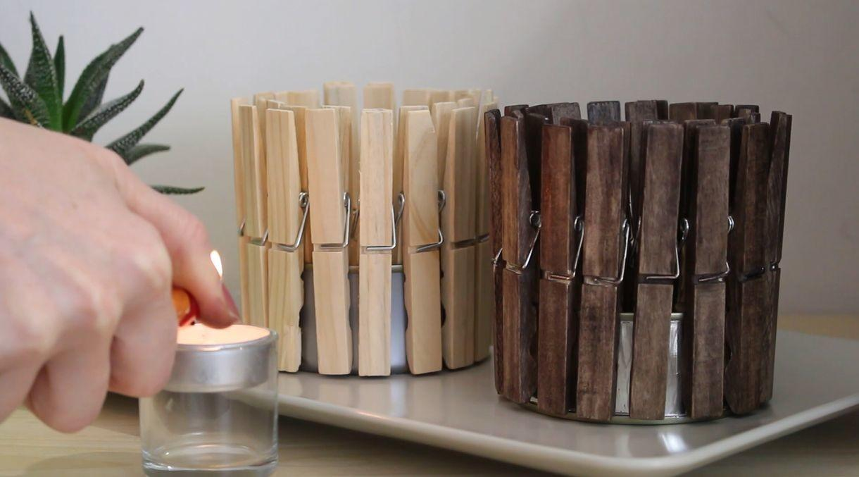 Make Quick Cute Clothespin Candle Holder Home