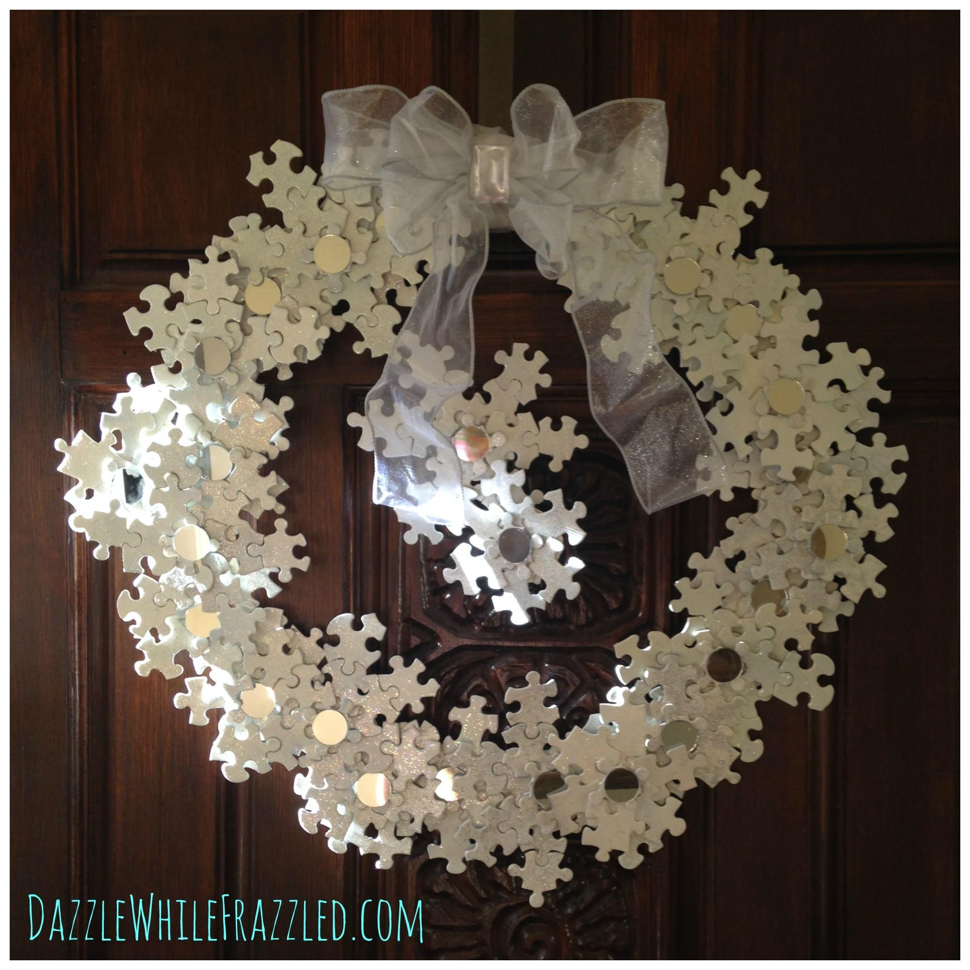 Make Stunning Winter Snowflake Wreath Puzzle Pieces
