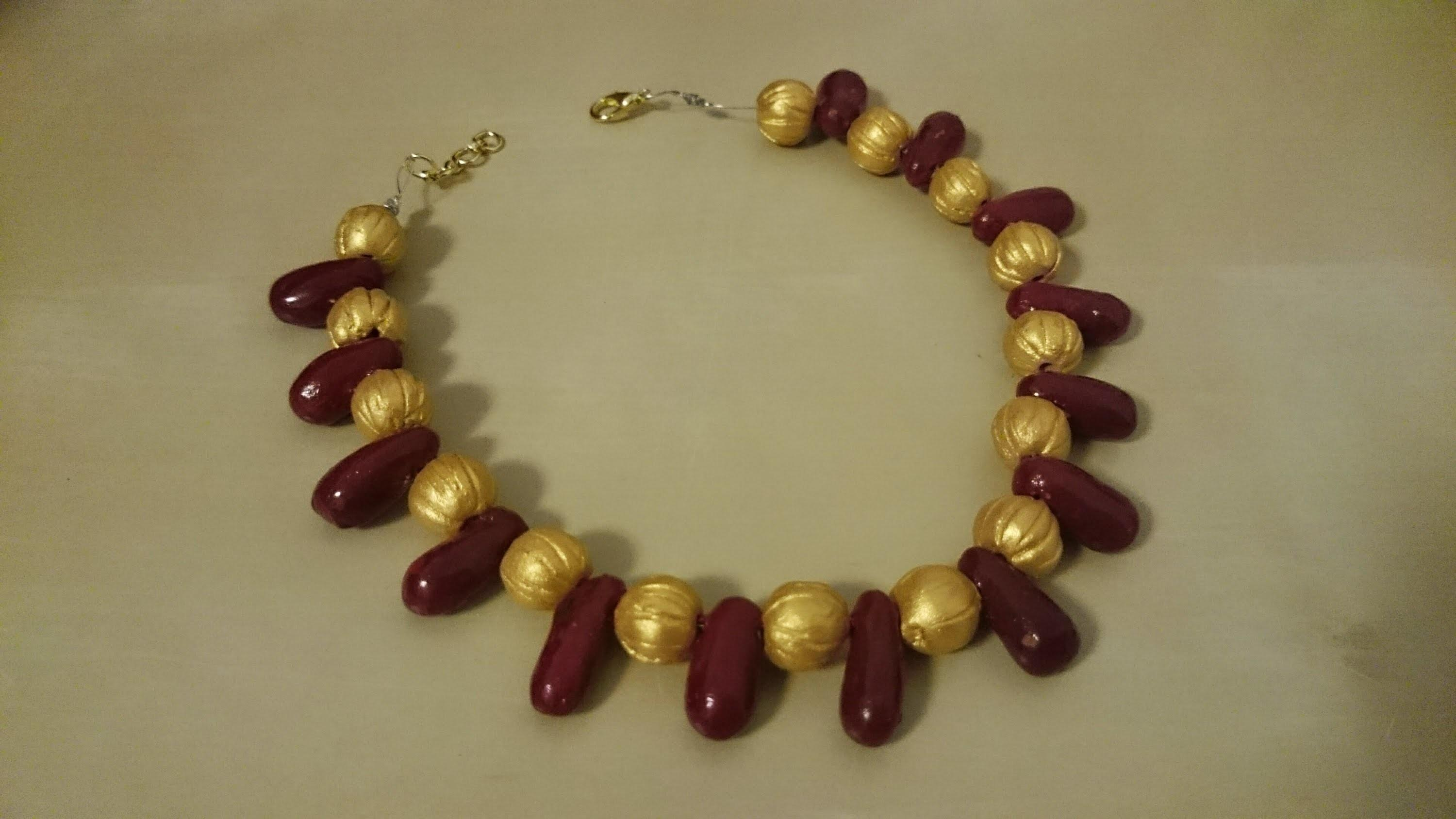 Make Terracotta Red Gold Bead Necklace