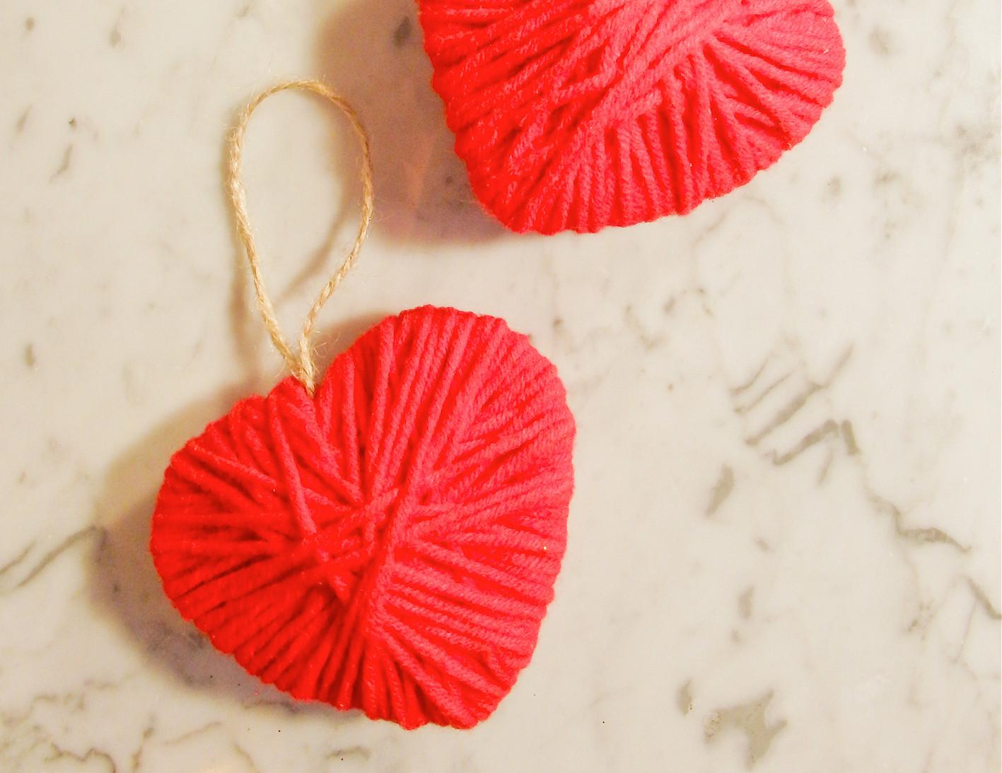 Make These Cute Yarn Hearts Valentine Day Easy