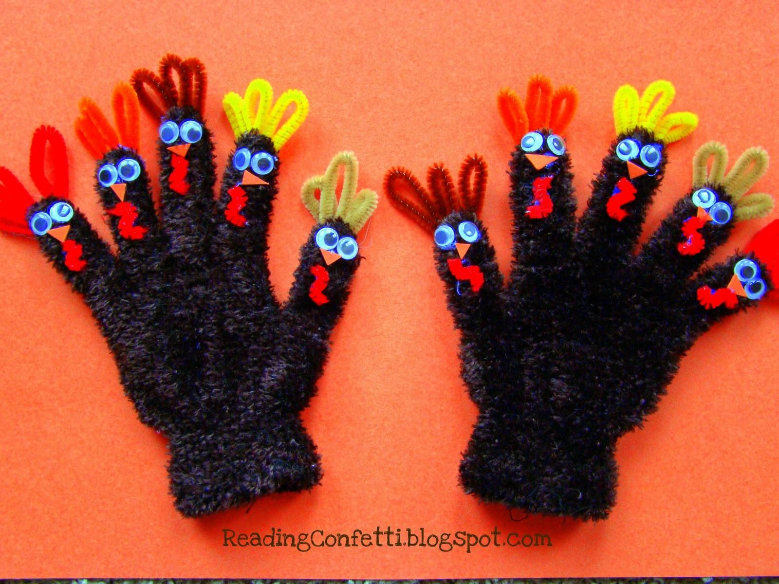 Make Turkey Finger Puppet Gloves Dollar Store Crafts