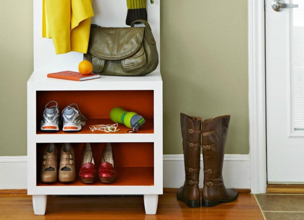 Make Two One Bench Shoe Storage Solution