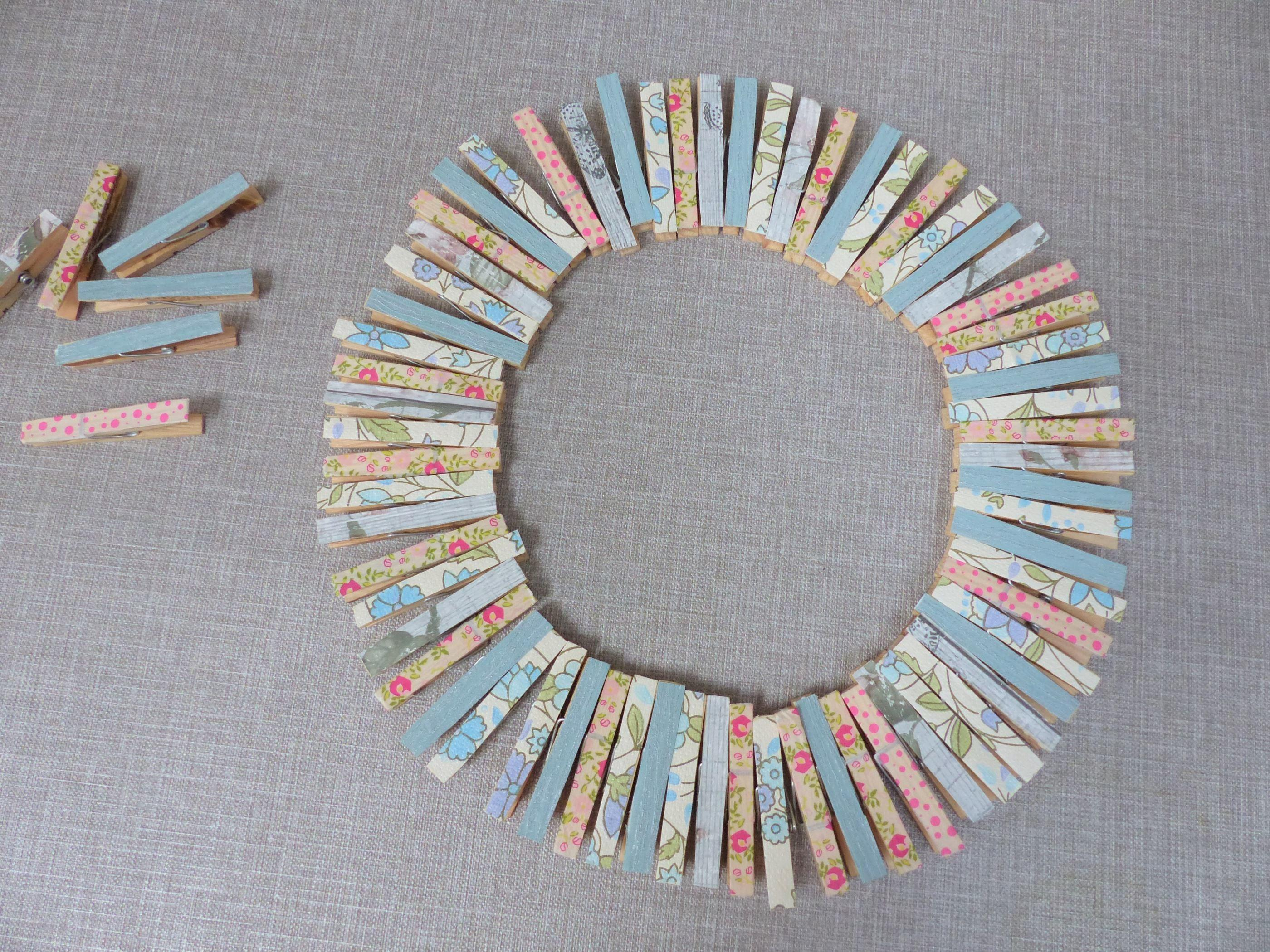 Make Upcycled Clothes Peg Wreath Easter