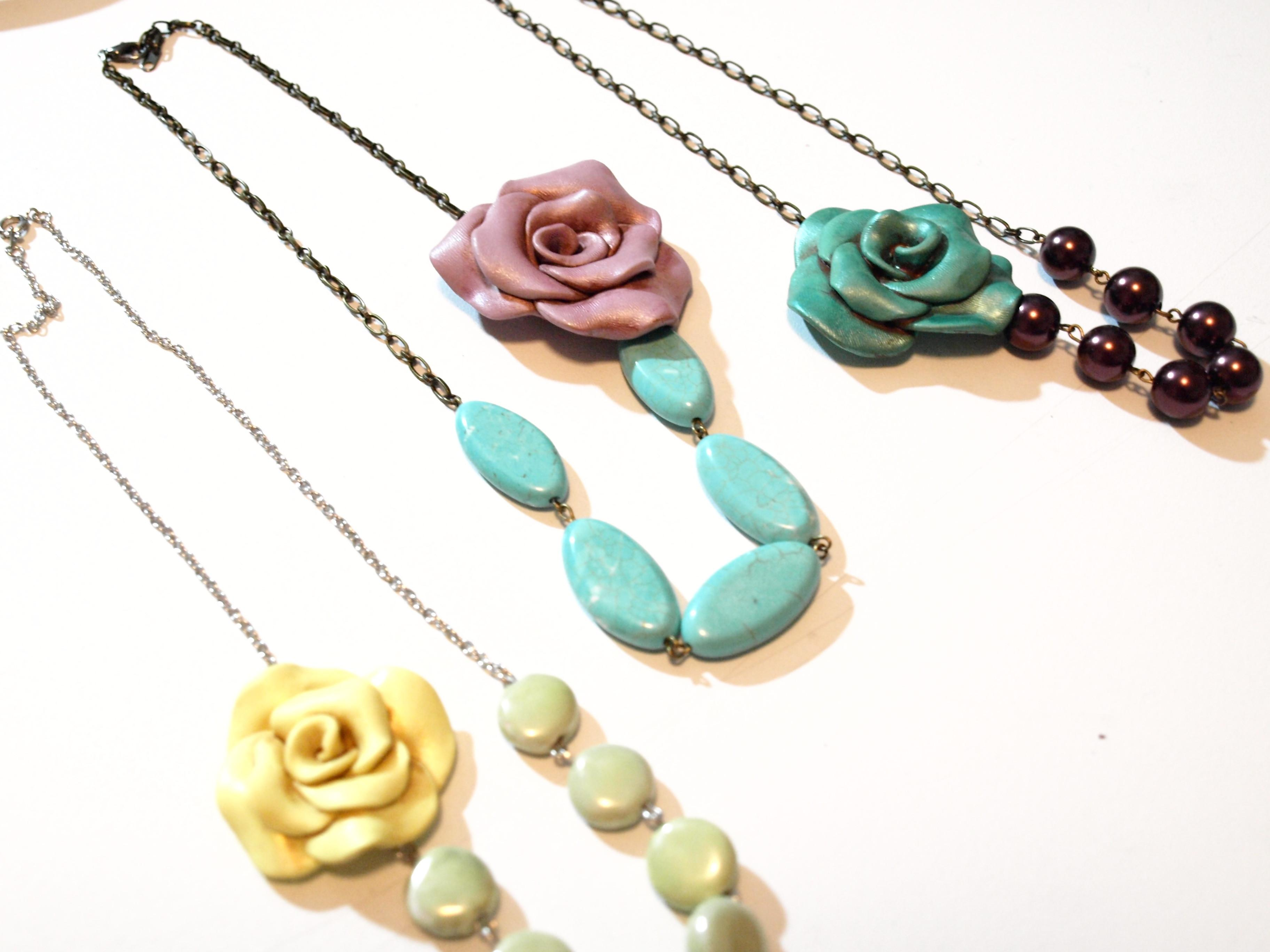 Make Vintage Inspired Clay Rose Necklace See